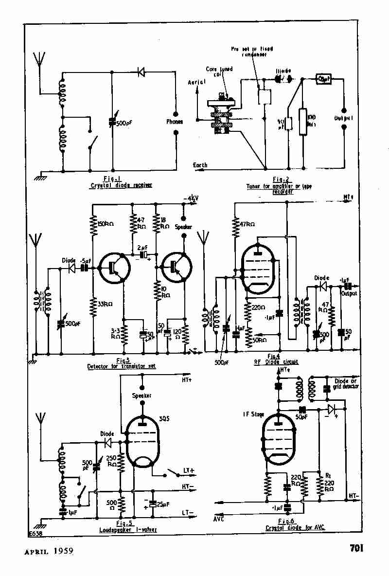 vintage radio and electronics  circuits for crystal diodes