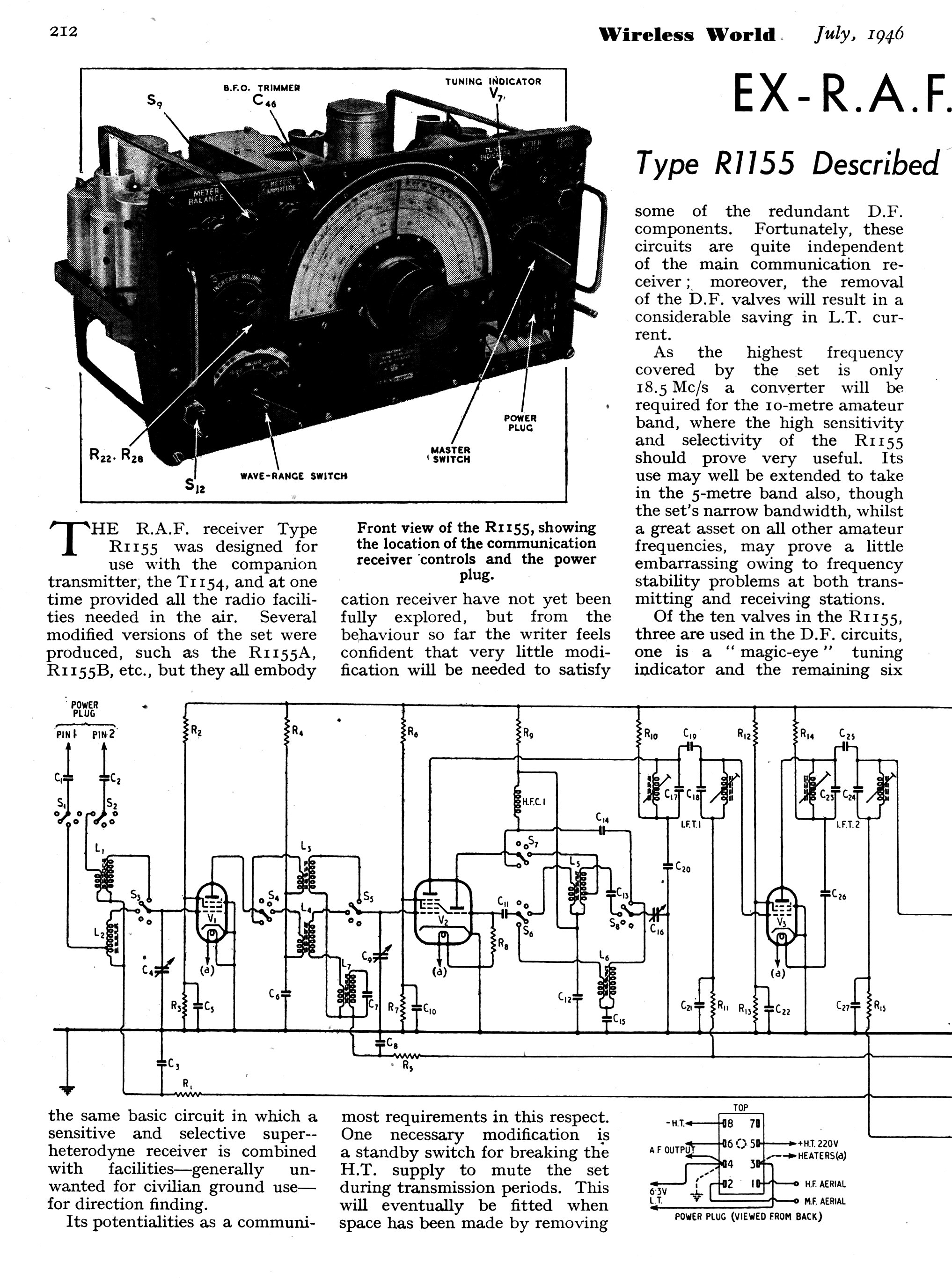 vintage radio and electronics  notes on the r1155 from