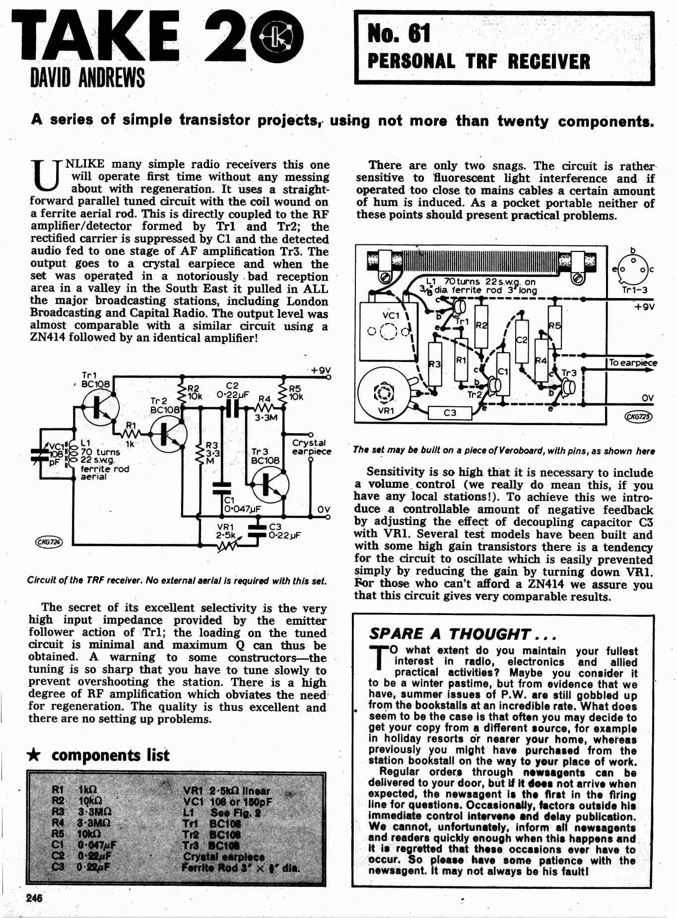 Schematic Diagram Of Am Transistor Radio Kits For Sale Zn414 Portable Receiver Circuit Pw Uk Vintage